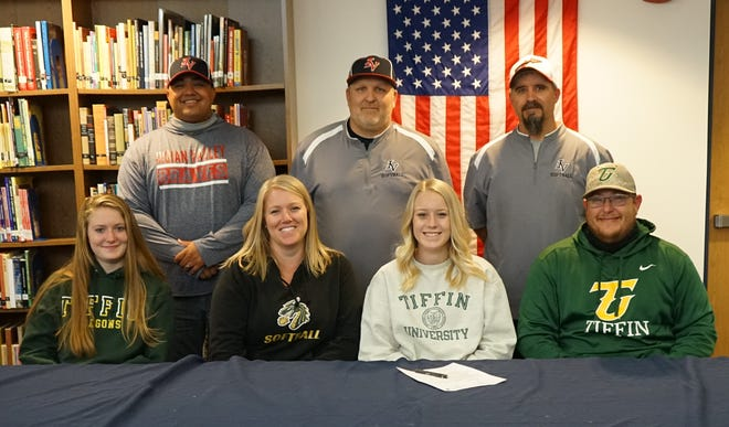 Indian Valley's Kaitlynn Deardorff signed with Tiffin University where she will continue her academic and athletic career next fall. Athletically, she will be joining the Dragons softball team and he plans on studying Exercise Science while attending Tiffin. Deardorff is pictured with her sister Taylor, mother Brandi and father Tim. In the back are Coaches Tim Plants, Dusty Braun and Brent Cross.