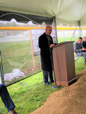 Superintendent Broc Bidlack delivers remarks at the ground breaking ceremony at Fairless.