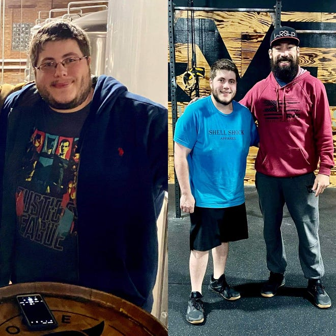 Side by side comparison of Michael Rosenberg before and after losing 100 pounds. At right, he is seen with River Valley CrossFit owner and coach Dustin Ponder.