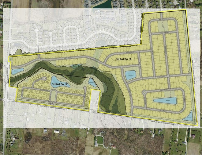 Pulte Homes of Ohio is proposing a 145-acre residential development at the northeast corner of London Groveport Road and Jackson Pike. This rendering of the initial concept plan for the development shows how an existing stream would bisect and divide the development into subareas.