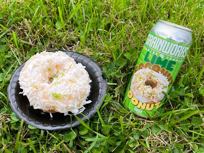Grainworks' Lime Coconut Donut Gose, a beer inspired by Holtman's new lime coconut doughnut.