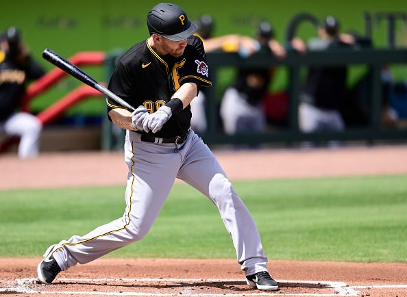 Todd Frazier #99 of the Pittsburgh Pirates stands at the plate during the first inning against the Atlanta Braves during a spring training game at CoolToday Park on March 09, 2021 in Venice, Florida.