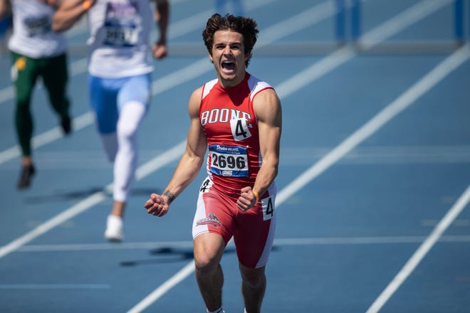 Boone's Tegan Bock competes at the Drake Relays on Thursday, April 22, 2021, in Des Moines, Iowa.