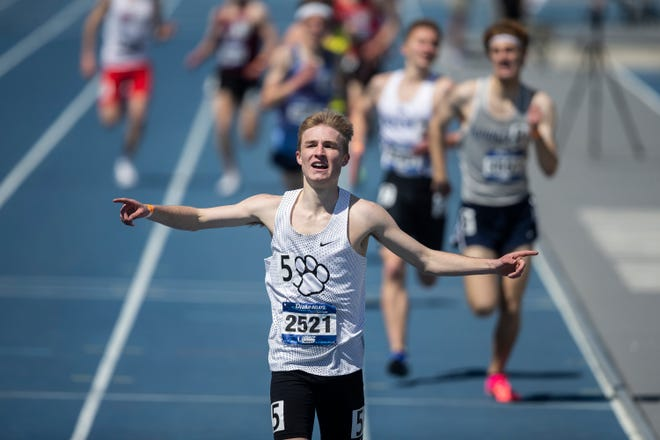 ADM's Nate Mueller competes at the Drake Relays on Thursday, April 22, 2021, in Des Moines, Iowa.
