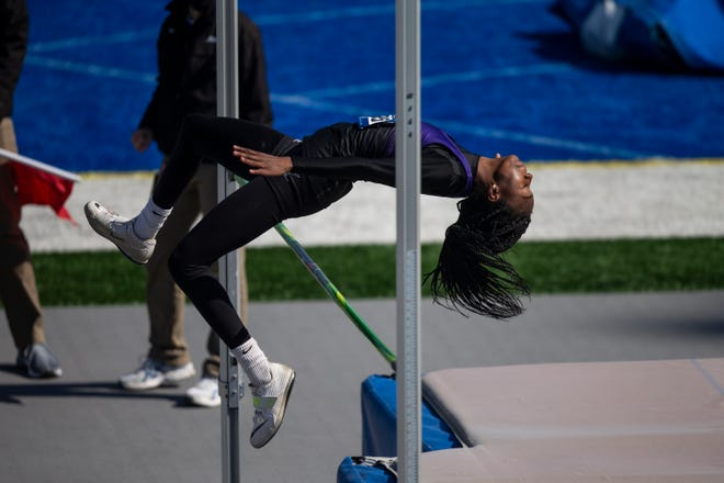 Keokuk's Miracle Ailes competes in the high jump during the Drake Relays on Thursday, April 22, 2021, in Des Moines, Iowa.