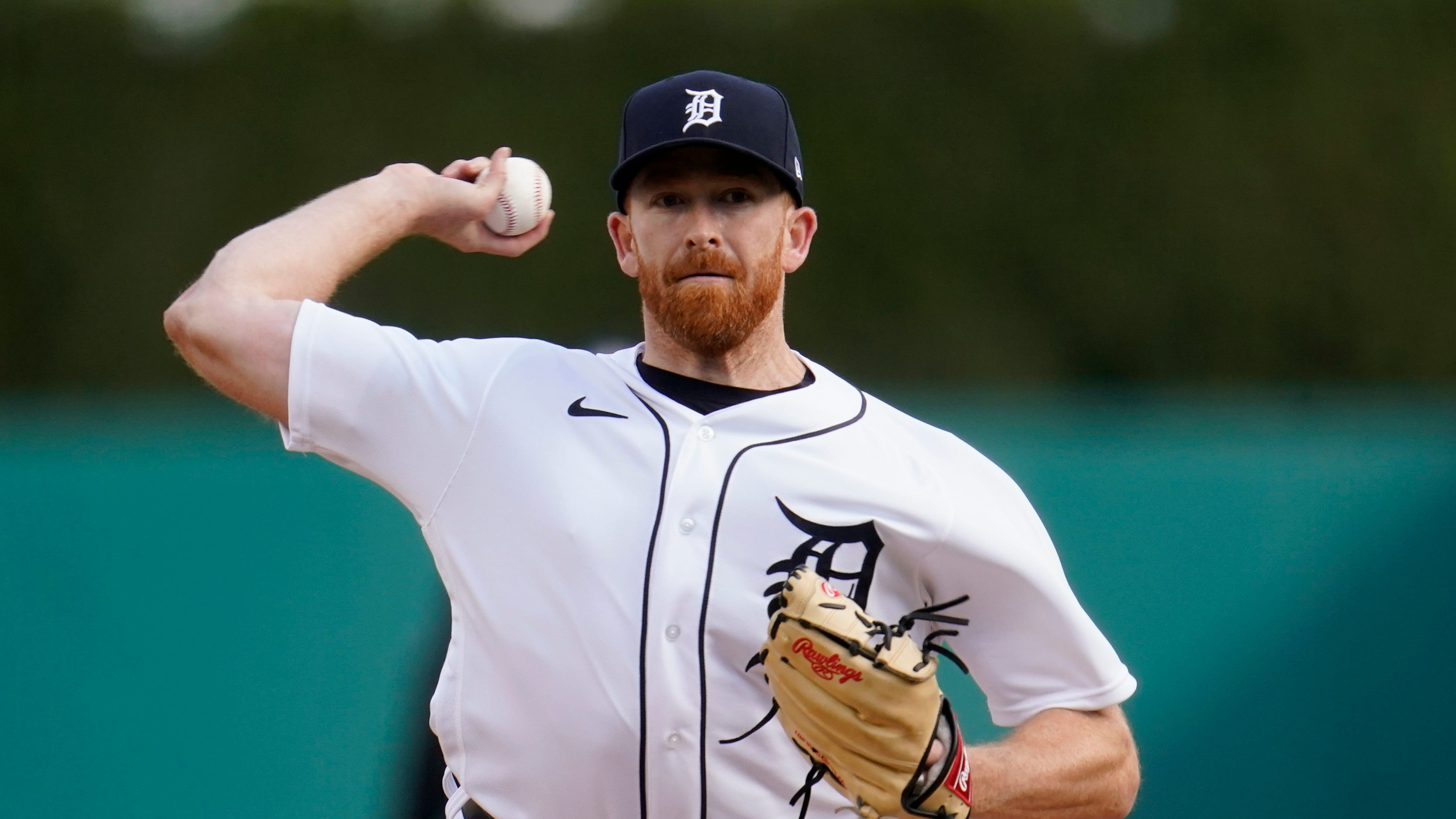 Detroit Tigers pitcher Spencer Turnbull throws against the Pittsburgh Pirates in the first inning during the second game of a doubleheader baseball game in Detroit, Wednesday, April 21, 2021.