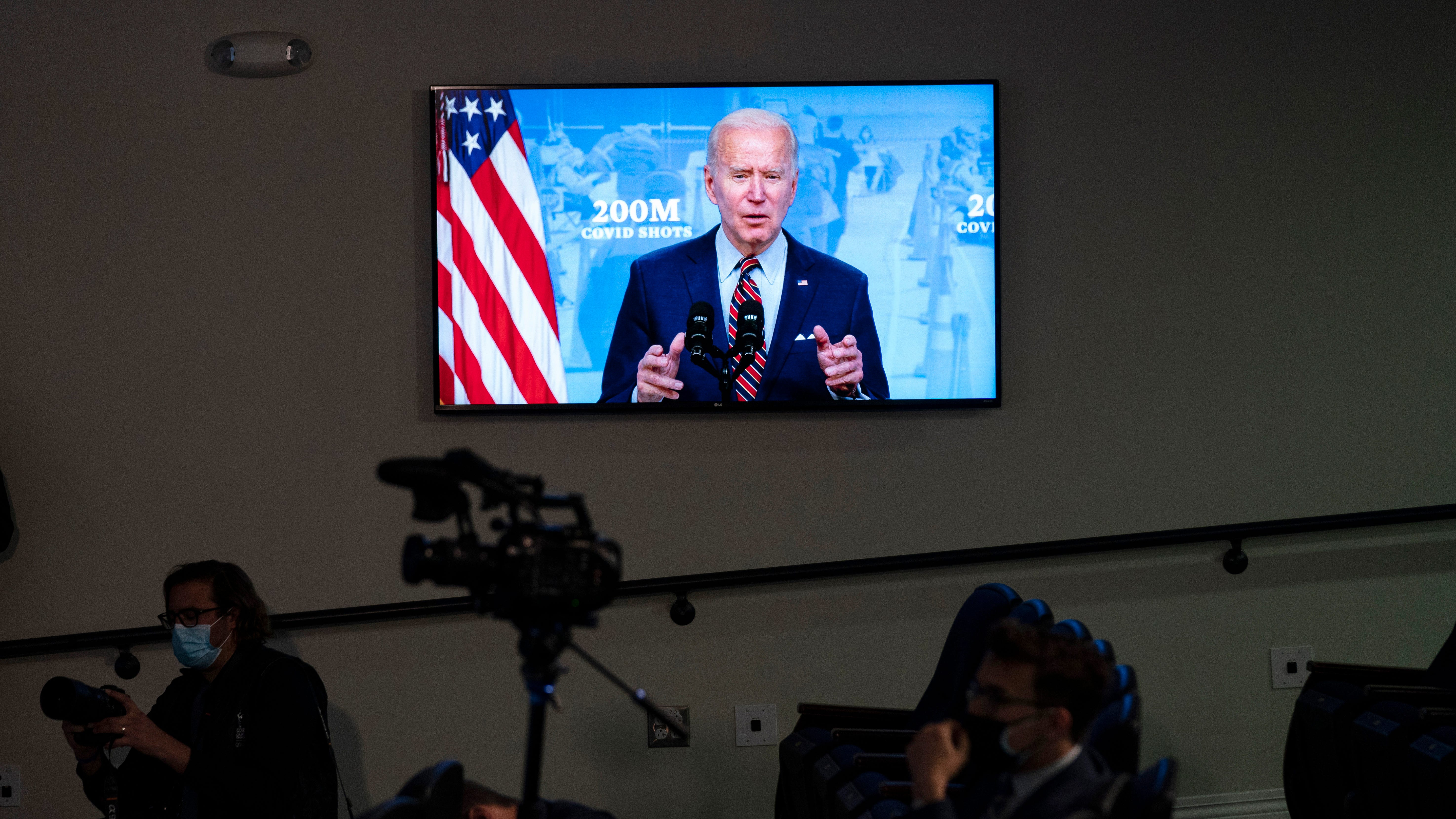 President Joe Biden speaks about COVID-19 vaccinations at the White House, Wednesday in Washington.