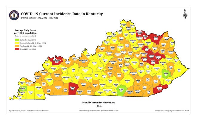 The COVID-19 current incidence rate map for Kentucky as of Wednesday, April 21.