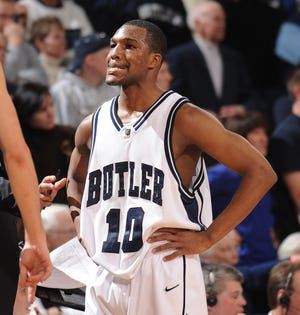 Butler's Mike Green grimaced in the final minute of a game Butler lost to Drake at Hinkle Fieldhouse. (Matt Kryger / The Indianapolis Star)