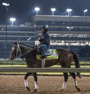 Kentucky Derby hopeful Keepmeinmind is seen on the track at Churchill Downs during morning workout. April 22, 2021