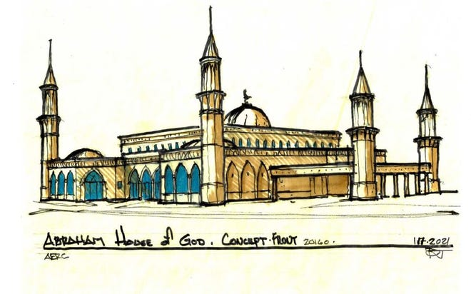 Concept art shows Abraham House of God, a mosque planned for Horn Lake.