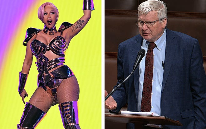 Cardi B from her Grammy performance and Glenn Grothman.