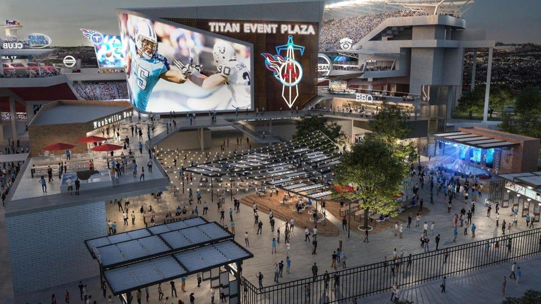 Una representación conceptual de las renovaciones planificadas del Nissan Stadium.  Continúan las discusiones sobre los diseños finales.