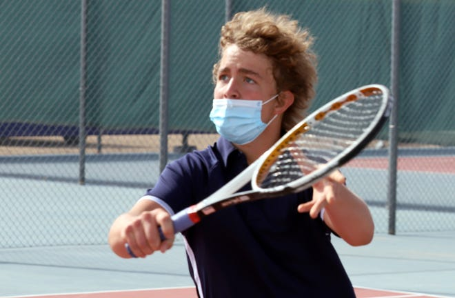 Deming High Wildcat freshman Sebastien Lescombes scored a 6-2 and 6-3 singles match victory over his Chaparral High School opponent on April 15 at the DHS Tennis Complex. The DHS tennis teams will be back home on Tuesday, May 18, against the Centennial High Hawks. Matches will begin at 3 p.m.