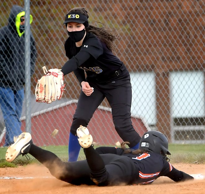 Kennard-Dale's Rosella Stike, seen here at top in a file photo, went 4 for 4, including a double, with four RBIs and one run scored on Wednesday in a 10-6 win over Gettysburg.