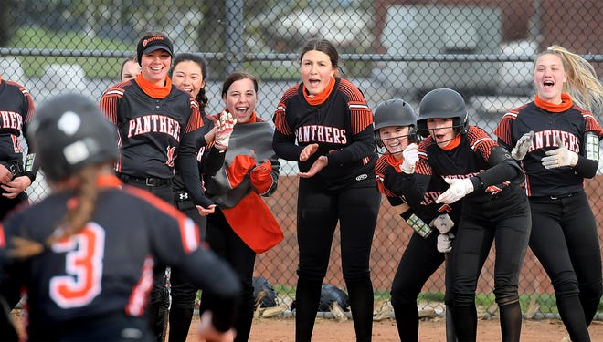 Central York's Brynn Weigle heads to the plate with teammates cheering her after she hit a home run against host Kennard-Dale Thursday, April 22, 2021. Central went on to win 12-1 in six innings. Bill Kalina photo