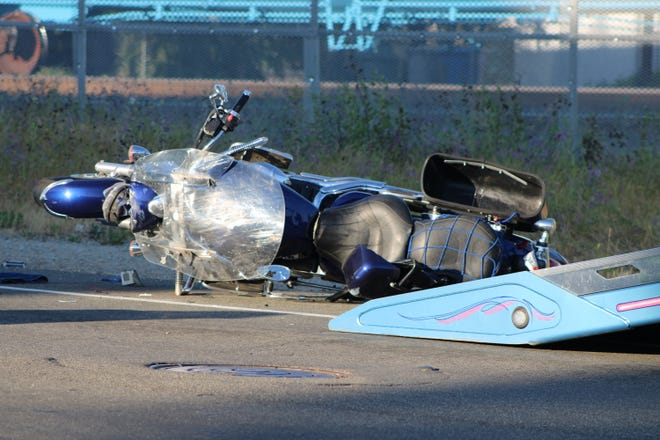 Police said one person was killed in a crash between a motorcycle and sedan on Railroad Avenue in Redding on Wednesday, April 21, 2021.