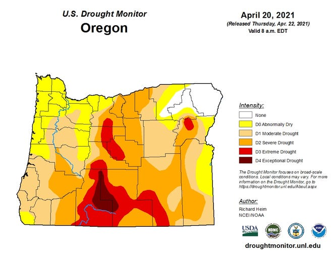 Almost all of Oregon is abnormally dry or in drought, according to the U.S. Drought Monitor.