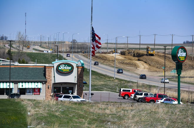Development construction begins past current retail and restaurant spaces along Veterans Parkway on Thursday, April 22, 2021, in Sioux Falls.