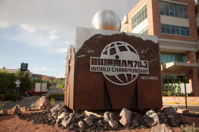St. George prepares for the upcoming Ironman race Wednesday, April 21, 2021.