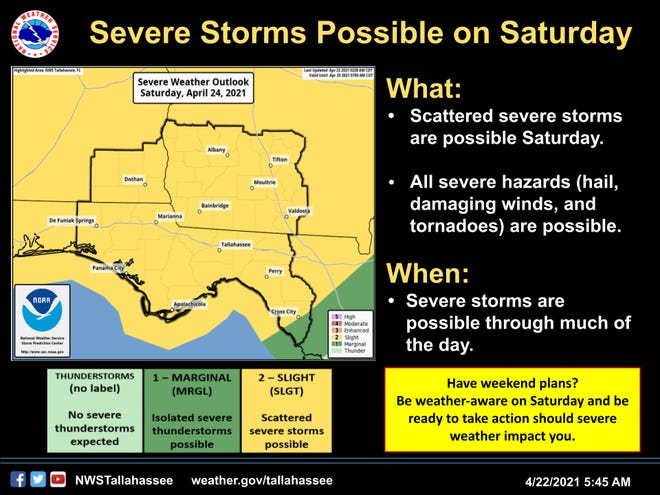 Severe storms are possible Saturday across North Florida and South Georgia.