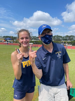 The Pine School seventh grader Riley McCaughey was voted TCPalm Athlete of the Week for April 12-18 after winning the long jump, triple jump and high jump and helped the Knight 4 x 800 relay team win at the District 13-1A meet on April 16.