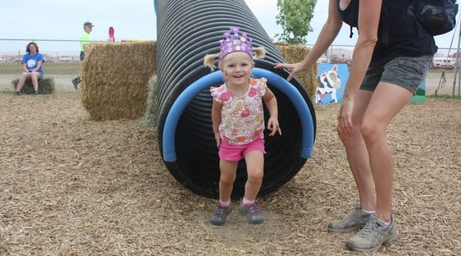 Large equipment and livestock, coupled with a child's curiosity, can lead to a tragic incident. Therefore, it is important to create a play area for children that is both fun and safe with a physical barrier separating it from the busy, active workplace of the farm. (Photo