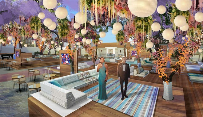 A sketch shows how an outside patio at LA's Union Station will be turned into a location for pre- and post-show activities as well as nominee hobnobbing at Sunday's Academy Awards.