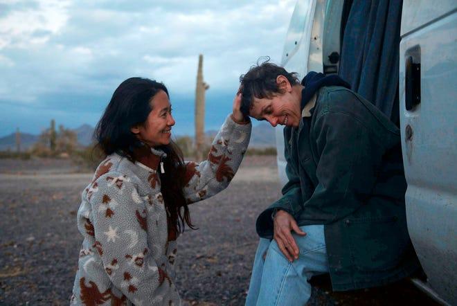 "Chloé Zhao, left, on the set of ""Nomadland"" with Frances McDormand."