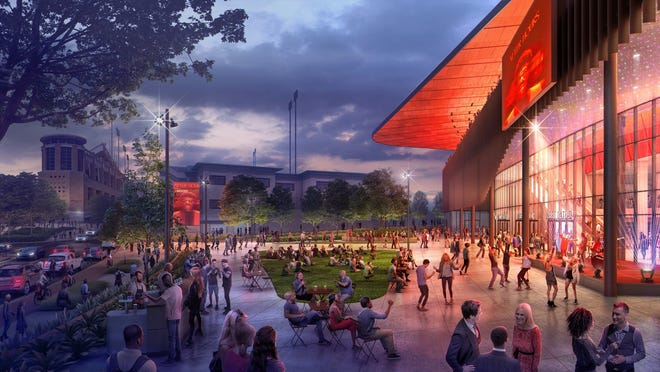 Dell Technologies Plaza, seen here in an artist rendering, will be a key area for people to meet before Texas basketball games or concerts.