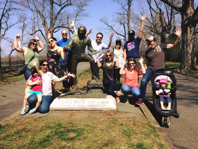 People pose for a picture at the end of a Bordentown Walking Tour. The tours are now expanding to Burlington City and Mount Holly.