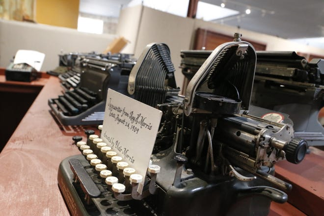 This collection of old manual typewriters will be part of the new banks and business exhibit when the Brown County Museum of History reopens next month.