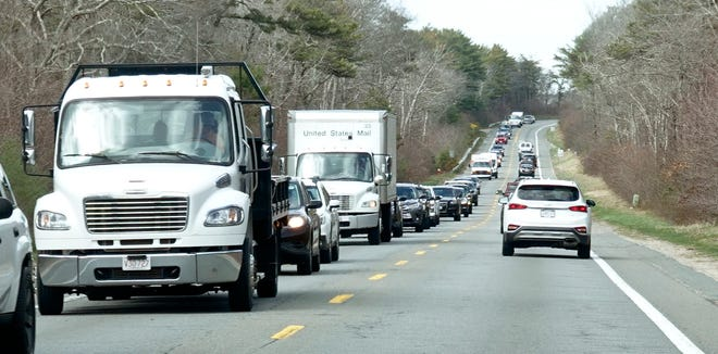 Cape Cod Canal-side traffic between the Sagamore and Bourne bridges was tied up Thursday afternoon as repair crews worked on the Sagamore Bridge. Relief is due Sunday before repairs start on the Bourne Bridge May 1.