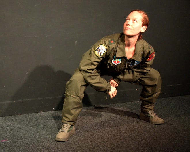 """Anna Botsford stars as a fighter pilot whose life unravels on drone missions in """"Grounded"""" at Cotuit Center for the Arts."""