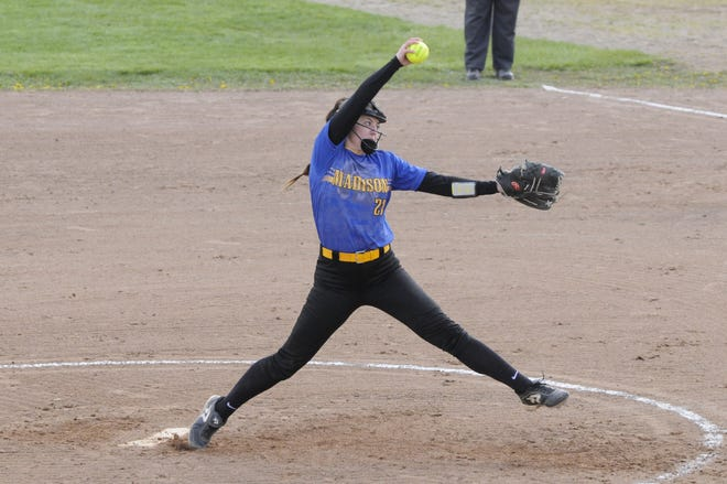 Madison pitcher Calie Sower (21) delivers a pitch during Thursday afternoon's nonconference doubleheader at Onsted.