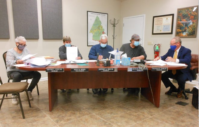 From left, at the April 19 Lackawaxen Township Supervisors' meeting were Denise Steuhl, Secretary/ Office Manager; Supervisor/ Vice Chairman John Beisel; Supervisor/ Chairman Jeffrey Shook; Supervisor Michael Mancino and Solicitor Thomas Farley.