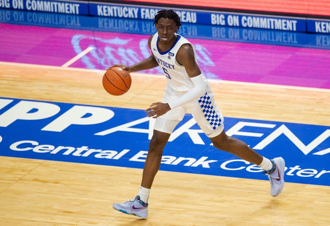 Nov 25, 2020; Lexington, Kentucky, USA; Kentucky Wildcats guard Terrence Clarke (5) dribbles the ball in the second half against Morehead State at Rupp Arena at Central Bank Center.