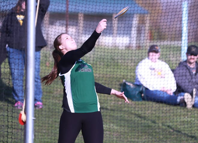 West Burlington-Notre Dame sophomore Abbey Bence throws the discus in Saturday's Pankoke Relays at Winfield.