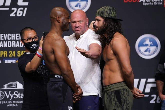 Apr 23, 2021; Jacksonville, Florida, USA; UFC president Dana White (white shirt) stands between Kamaru Usman (L) and Jorge Masvidal (R) during weigh-ins for UFC 261 at VyStar Veterans Memorial Arena. Mandatory Credit: Jasen Vinlove-USA TODAY Sports