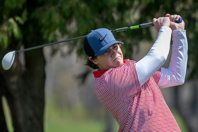 Carl Sandburg College freshman Calvin Peterson of Williamsfield watches his drive from the 9th tee during an Arrowhead Conference meet at Lake Bracken Country Club. on Thursday, April 22, 2021.