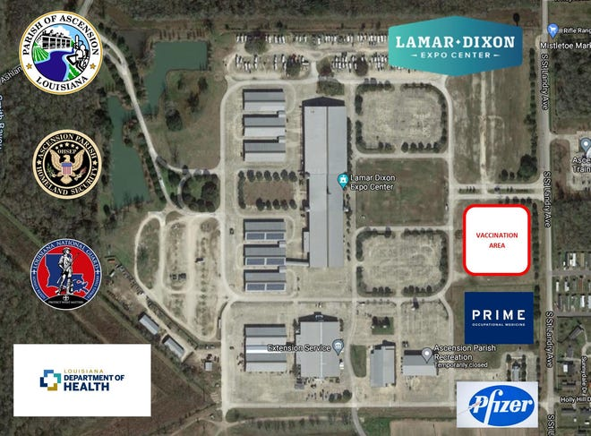 The Pfizer COVID-19 vaccine will be available at Lamar-Dixon Expo Center in Gonzales.