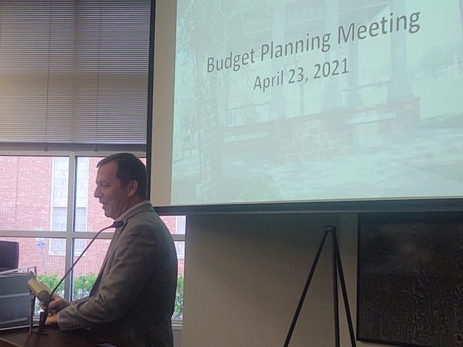 City Manager Robbie Hefton speaks during the Sherman budget planning meeting Friday. City leaders discussed a possible shortfall in the city's utility fund.