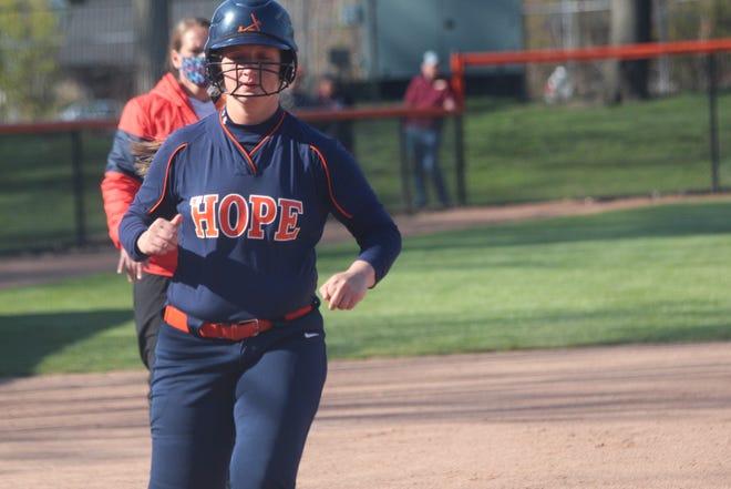 Hope's softball team split a doubleheader with Calvin on Thursday, April 22, 2021