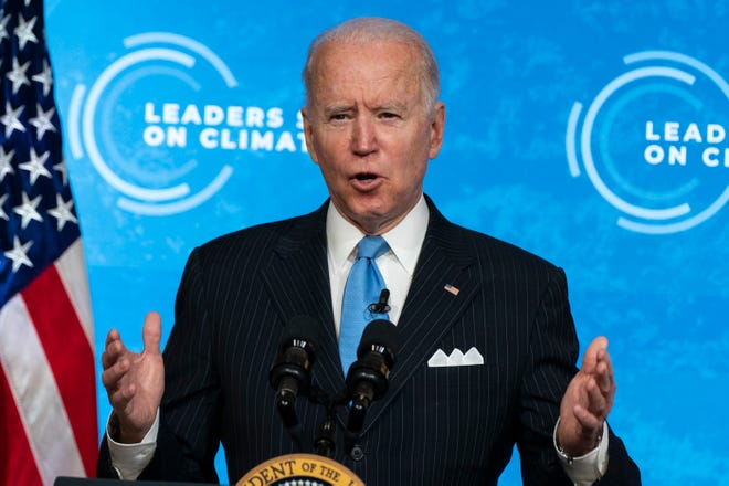 President Joe Biden speaks at the virtual Leaders Summit on Climate, from the East Room of the White House, on April 23.