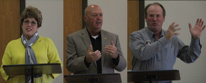 Side-by-side images of Cindy O'Laughlin, Greg Sharpe and Danny Busick.