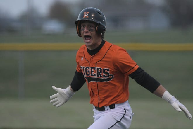 Kirksville's Patrick Ranson reacts after hitting a walk-off single to beat Mexico on Thursday night.