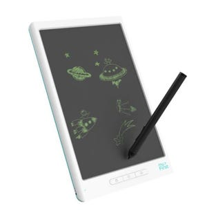 The myFirst Sketchbook ($99.90) lets children draw, sketch and doodle on a smooth surface. It's main differencewith other digital sketchbooks is that it can save the drawings to memory.