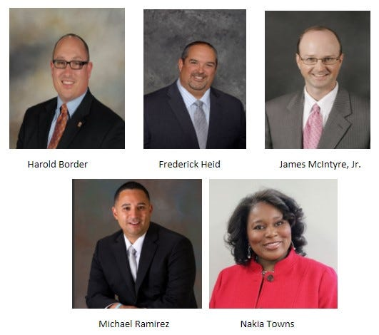 The five finalists for Polk County Schools superintendent.  One will be chosen Tuesday night.