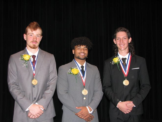 J. Edward Kelley Award recipient Drae Allen is flanked by fellow nominees Darrick Broadwater (left) and Bradley Sommers.