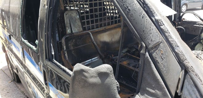 This Oklahoma County sheriff's van was burned May 30 during a protest over the death of George Floyd.